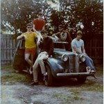 Square small shane and his first car with mates circa 1970