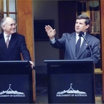 Square small medium prime minister john howard announces statehood referendum  circa  1998