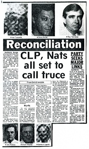Preview medium centralian advocate  reconciliation clp  nats all set to call truce  12 august 1987