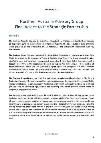 Preview medium northern australia advisory group advice to strategic partnership   final
