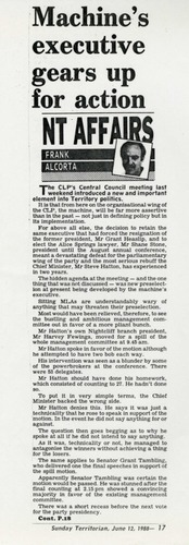 Preview medium sunday territorian nt affairs frank alcorta  machine executive gears up for action  12 june 1988