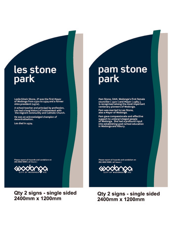 Preview medium concept signage for the les   pam stone parks