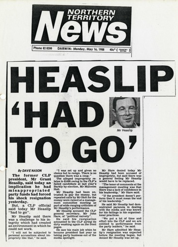 Preview medium nt news  heaslip had to go  16 may 1988