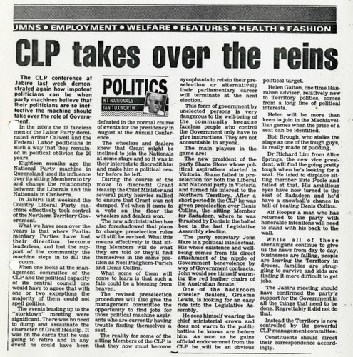 Preview medium sunday territorian spectrum   clp takes over the reins  23 may 1988