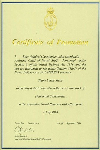 Preview medium certificate of promotion ranr 1 july 1994