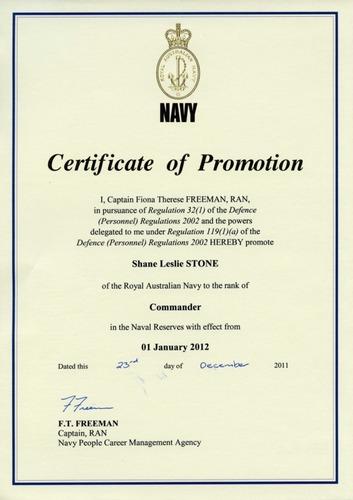 Preview medium certificate of promotion commander ranr 23 dec 2011