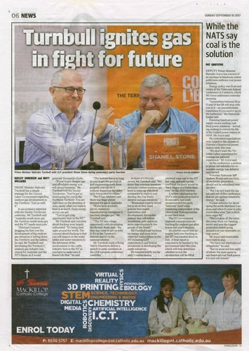 Preview medium nt news  turnbull ignites gas in fight for future  10 september 2017
