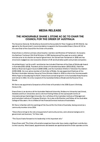 Preview medium media release order of australia council