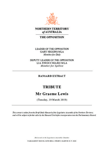 Preview medium hansard extract   tribute   mr graeme lewis   19 march 2019
