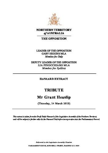Preview medium hansard extract   tribute   mr grant heaslip   14 march 2019