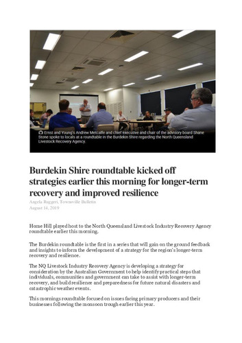 Preview medium townsville bulletin   burdekin shire roundtable kicked off strrategies earlier this morning for longer term recovery and improved resilience 14 aug 2019