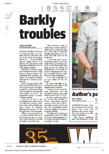 Preview medium nt news stone in talks on barkly troubles 22 sept 2019