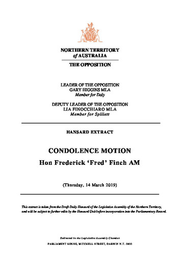 Preview medium hansard extract   condolence motion   hon fred finch   14 march 2019