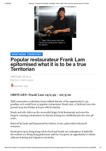 Preview medium obituary frank lam 27 march 2020
