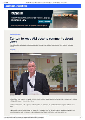Preview medium carlton to keep am despite comments about jews   the australian jewish news
