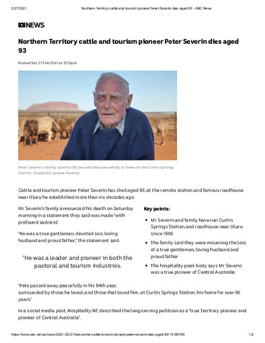 Preview medium northern territory cattle and tourism pioneer peter severin dies aged 93   abc news