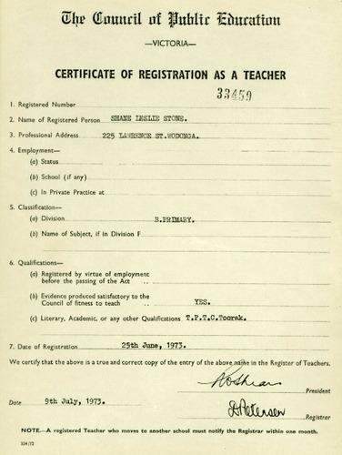 Preview medium certificate of registration as a teacher 25 june 1973