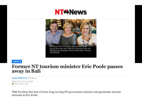 Preview medium eric poole remembered as nt clp stalwart after passing away in bali   nt news