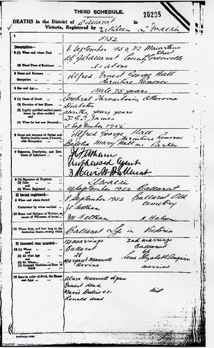 Preview medium death certificate alfred ernest george hall 6 sept 1952