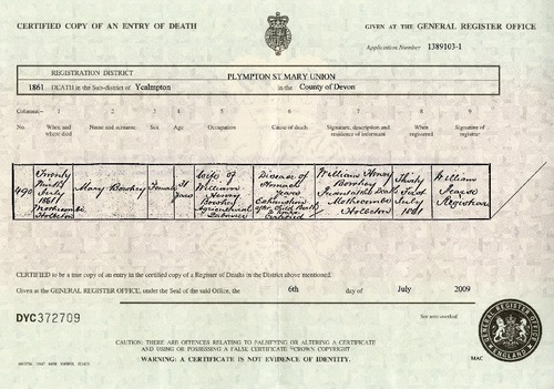 Preview medium death certificate mary bowhey 29 july 1861