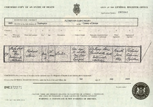 Preview medium death certificate richard stone 21 may 1869