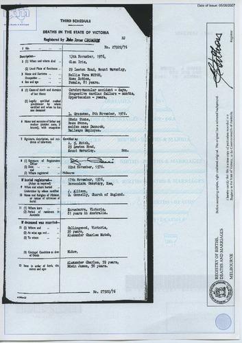 Preview medium death certificate nellie vera mutch 13 nov 1976