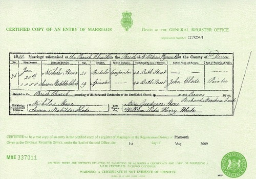 Preview medium marriage certificate nicholas stone   susan m clode 20 june 1858