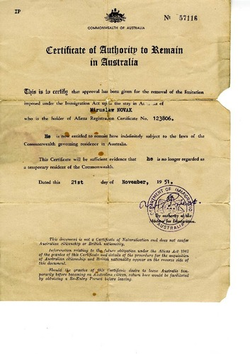 Preview medium certificate of authority to remain in australia 21 nov 1951