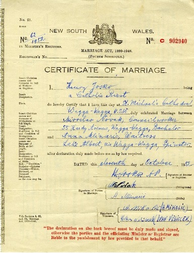 Preview medium marriage certificate miroslav novak   anna milnaric 11 oct 1952