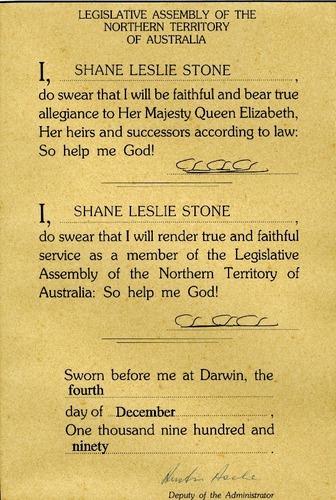 Preview medium oath of allegiance legislative assembly nt 4 dec 1990