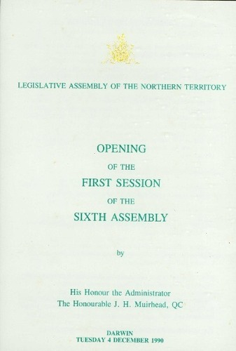 Preview medium first session  6th assembly legislative assembly nt 4 december 1990