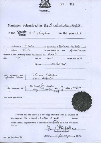 Preview medium marriage certificate copy thomas bilston   ann wheeler 23 april 1835