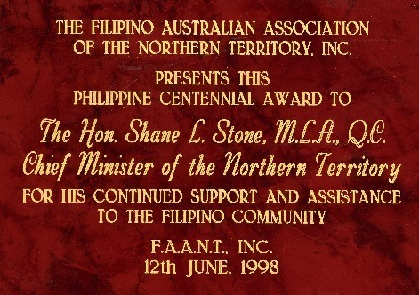 Preview medium centennial award fillipino australian association  12 june 1998