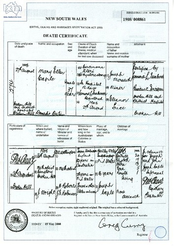 Preview medium death certificate mary ellen caple 27 aug 1908