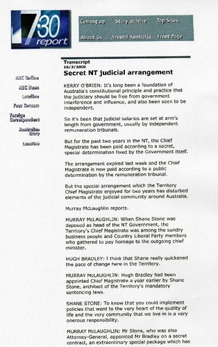 Preview medium abc 7.30 report chief magistrate 16 march 2000