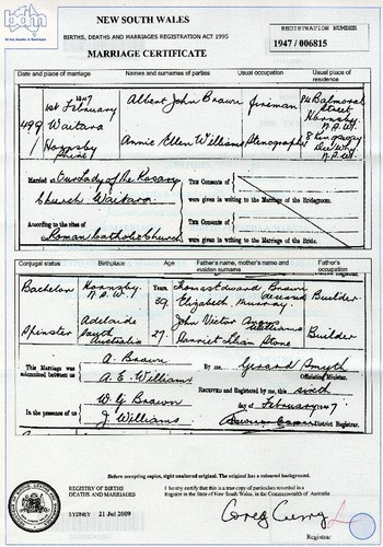 Preview medium marriage certificate albert brown   annie williams 1 feb 1947