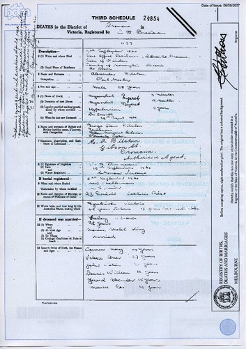 Preview medium death certificate alexander bilston 7 sept 1960