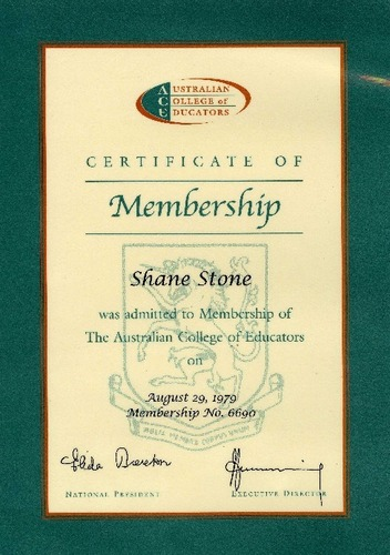 Preview medium certificate of membership australian college of education 29 aug 1979