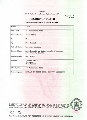 Preview medium bdm tasmania death certificate john stone no. 1032 1869 reg. no. 8 1869