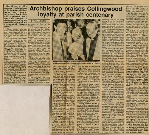 Preview medium catholic advocate  archbishop praises collingwood loyalty at parish centenary  4 november 1987