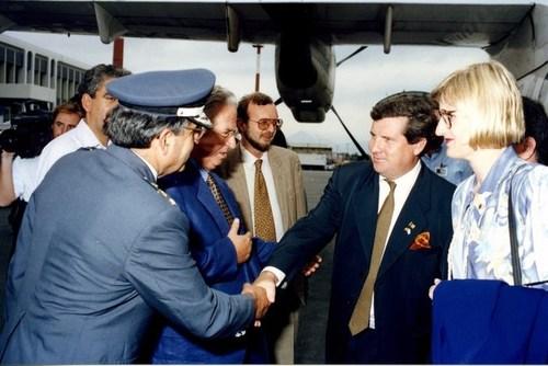 Medium official welcome iraklion airport crete greece 28 september 1995