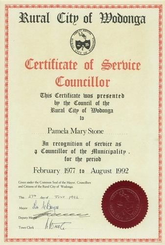 Medium certificate of service wodonga city councillor