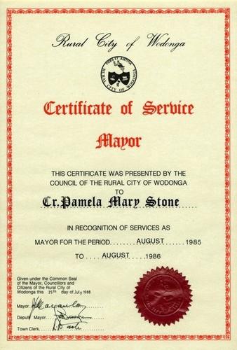 Medium certificate of service mayor of wodonga pam stone