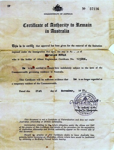 Medium certificate of authority to remain in australia mroslav novak 21 november 1951