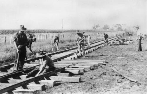 Medium laying track at millmerran on the darling downs near toowoomba late 1860 s