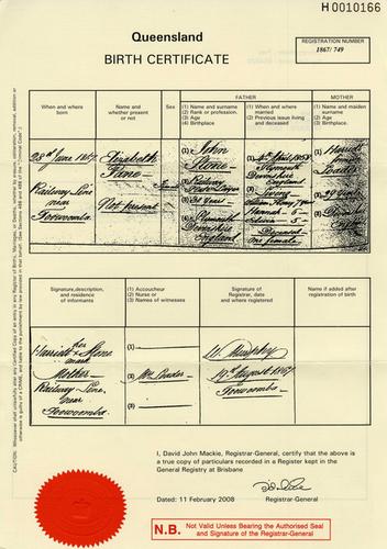 Medium birth certificate elizabeth jane aka annie stone 28 june 1867  railway line near toowoomba