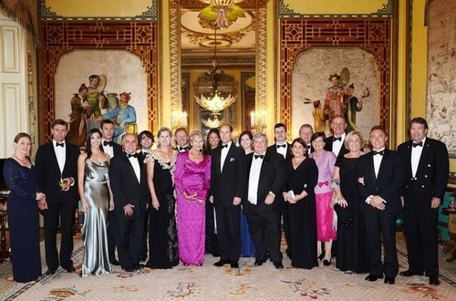 Medium group photo with hrh earl of wessex pre dinner drinks buckingham palace london 8 july 2014