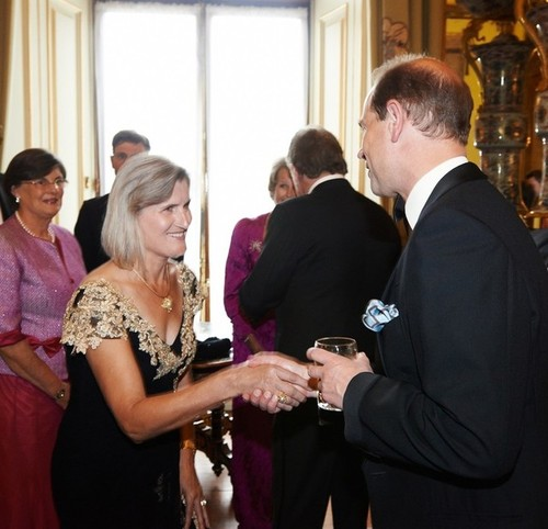 Medium josephine stone am presented to hrh earl of wessex pre dinner drinks buckingham palace london 8 july 2014