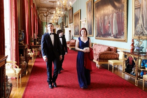 Medium jack and madeleine stone strolling the corridors of buckingham palace london 8 july 2014