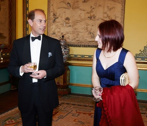 Medium madeleine stone chatting to hrh earl of wessex pre dinner drinks buckingham palace london 8 july 2014